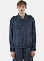 Lanvin Men's Geometric Jacquard Collared Jacket In Blue