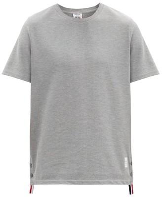 Thom Browne Back-stripe Cotton-pique T-shirt - Light Grey