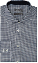 John Lewis Non Iron XL Sleeves Regular Fit Fine Gingham Shirt, Navy