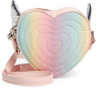 OMG Glitter Rainbow Heart Crossbody Bag