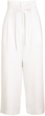 Club Monaco Anreannah Wide Leg Tie Belt Trousers, White