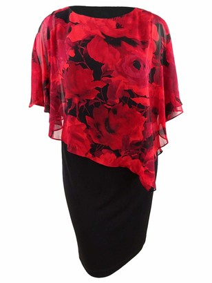 Connected Apparel Womens Red Floral Petal Sleeve Jewel Neck Knee Length Sheath Formal Dress Plus US Size: 16W
