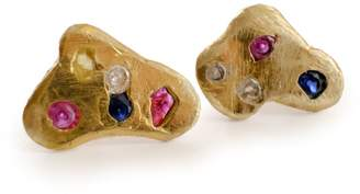 Be. Alice Arlecchino Earrings: Small Brass Stud Earrings with Cast-in-place coloured mixed stones