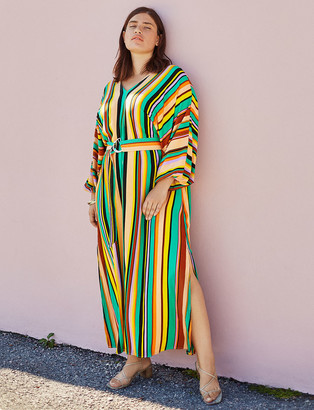 ELOQUII Striped Belted Maxi Dress