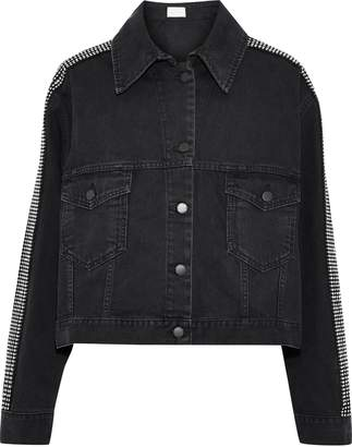 Christopher Kane Cropped Crystal-embellished Denim Jacket