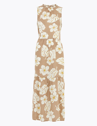 Marks and Spencer Floral High Neck Midi Relaxed Dress