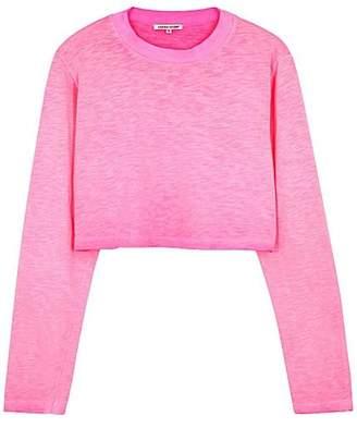 Cotton Citizen The Tokyo Crop LS In Hot Pink - XS