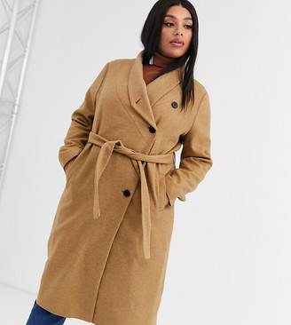 Religion Plus wrap front belted wool coat