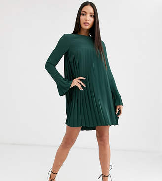Asos Tall DESIGN Tall pleated trapeze mini dress with long sleeves-Green