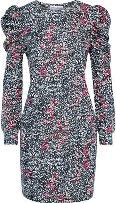 Rebecca Minkoff Janine Gathered Floral-print Cotton-blend Fleece Mini Dress