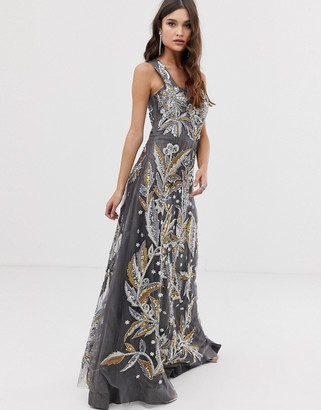 A Star Is Born maxi dress in embellishment with square neck detail in grey