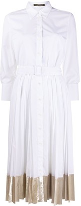 Luisa Cerano Belted Pleated Shirt Dress