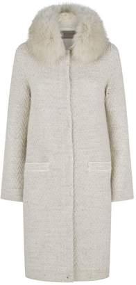 D-Exterior D.Exterior Sequin Fox Collar Coat