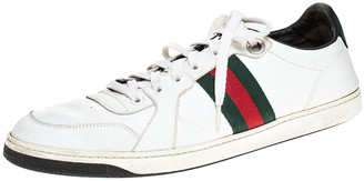 Gucci White Leather And Black Patent Web Detail Low Top Sneakers Size 45