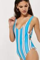 Topshop Striped scoop tie swimsuit