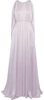 Roksanda Velvet-trimmed Gathered Silk-satin Gown