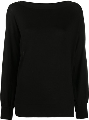 Snobby Sheep Diamante Button Boat Neck Jumper