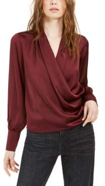 Band of Gypsies Draped Long-Sleeve Button-Cuff Top