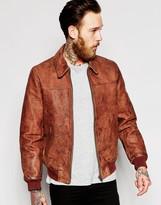 Asos Leather Harrington With Vintage Wash