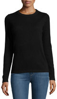 Neiman Marcus Cashmere Basic Pullover Sweater, Black