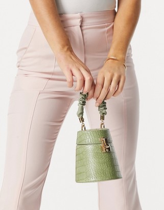 Ego x Molly Mae handheld boxy bag with ruched handle in green croc