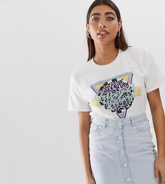 Reclaimed Vintage inspired 80s Logo Print T-Shirt-White
