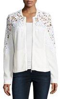 Neiman Marcus Crochet Lace-Inset Bomber Jacket, White