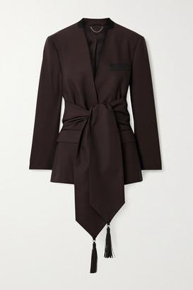 Salvatore Ferragamo Leather And Grosgrain-trimmed Belted Wool-twill Blazer - Dark brown