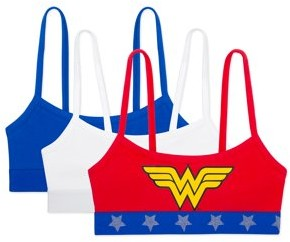 Fruit of the Loom Wonder Woman Girl's Bra, 3 Pack Spaghetti Strap Cotton Pullover Sport Bra Sizes 28 - 38