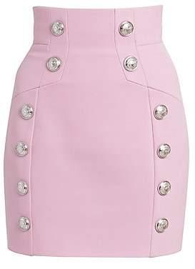 Balmain Women's Grain de Poudre High Waist Skirt