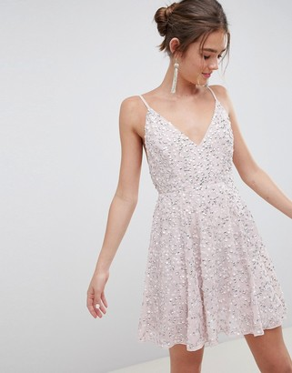 Asos Design DESIGN delicate sequin plunge mini dress with full skirt-Pink