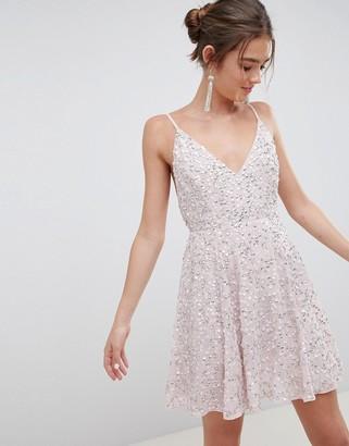Asos Design DESIGN delicate sequin plunge mini dress with full skirt