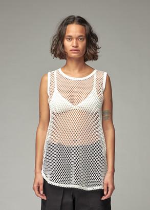 Y's by Yohji Yamamoto Women's Big Mesh Sleeveless T-Shirt in Off White Size 2