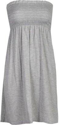 Mixlot Women Sheering strapless Plain Top Beach Dress Top casual wear size 6-20 - Brown -