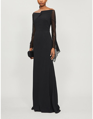 Roland Mouret Hafren semi sheer-sleeved crepe gown