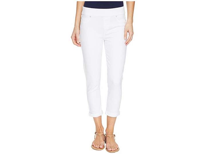 Liverpool Sienna Pull-On Rolled-Cuff Capris Slub Stretch Twill in Bright White