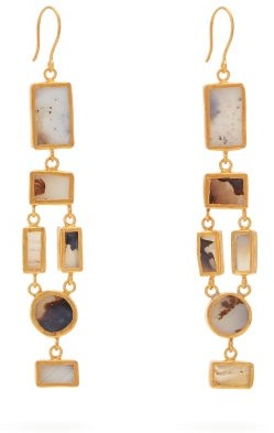 Pippa Small Turquoise Mountain - Tamadun Agate 18kt Gold Plated Drop Earrings - Womens - Grey
