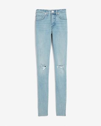 Express Mid Rise Ripped Raw Hem Skinny Jeans