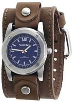 Nemesis #TLB051L Men's Wide Leather Cuff Band Blue Carbon Fiber Dial Watch