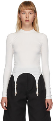 Dion Lee White Garter Long Sleeve T-Shirt