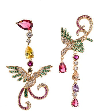 Eye Candy Los Angeles 18K Rose Gold Plated CZ Crystal Mix Match Earrings