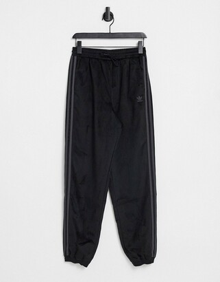 adidas 'Comfy Cords' velvet corduroy cuffed joggers in black