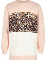 River Island Girls pink metallic print sweatshirt