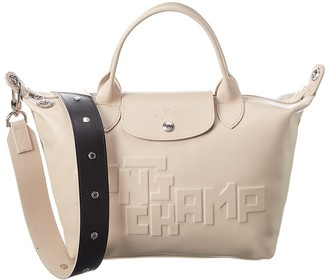 Longchamp Le Pliage Cuir Leather Short Handle Tote