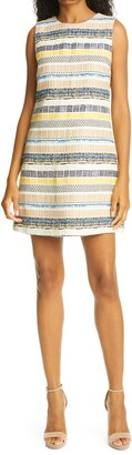Alice + Olivia Coley Texture Stripe A-Line Dress