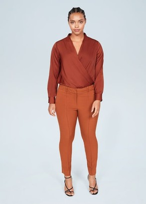 MANGO Violeta BY Satin wrap blouse burnt orange - 10 - Plus sizes