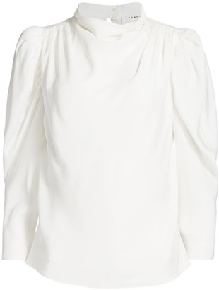 Frame Safari Puff-Sleeve Draped Silk Blouse