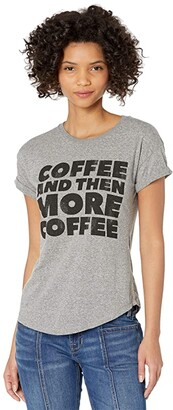 The Original Retro Brand Rolled Slub Short Sleeve Coffee and More Coffee Tee (Mocktwist Heather Grey) Women's Clothing
