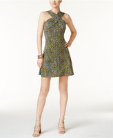 MICHAEL Michael Kors Quinn Cross-Neck Printed Fit & Flare Dress