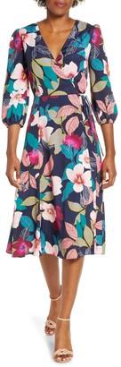 Brinker & Eliza Floral Print Faux Wrap Dress